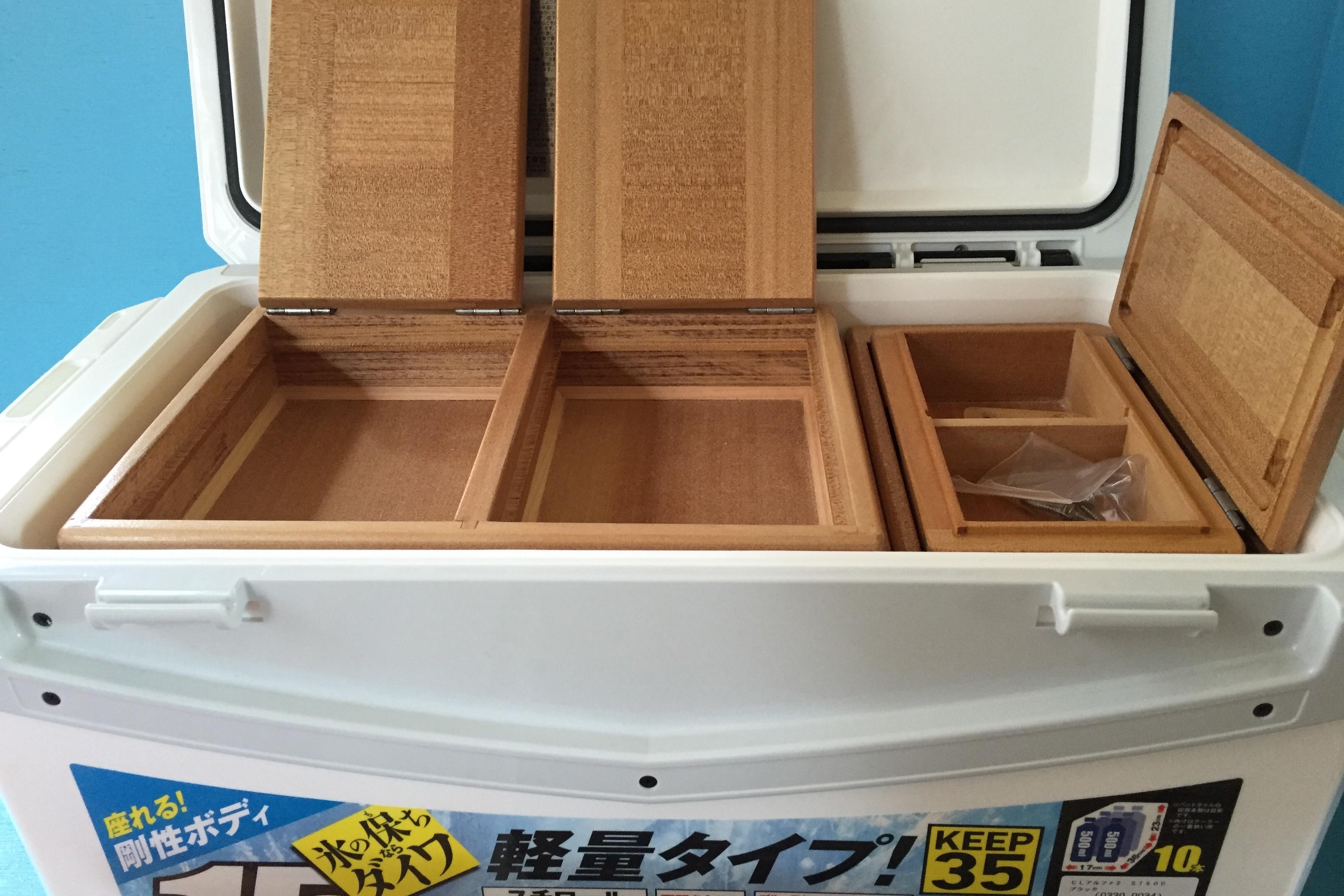 保存用エサ箱は大容量エサ入れで小出しエサ箱も大きくしてあります。