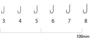 A1シロギスファイン 90本入ザ・ボックス/茶 針号数見本