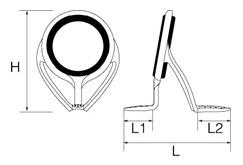 チタンフレームLRVガイド T-LRVTG/T-LRVSGサイズ概要。